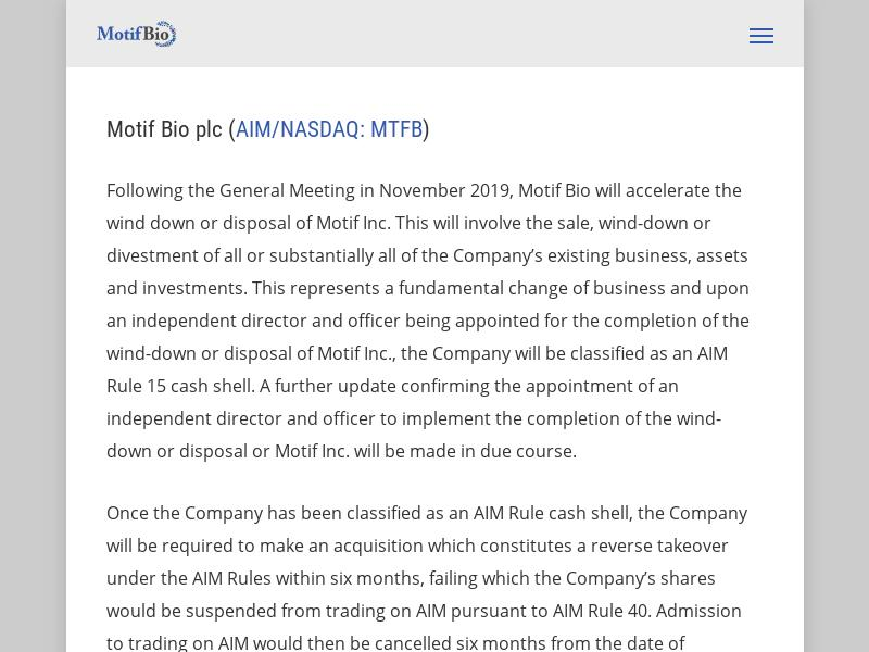 A Day Up For Motif Bio plc