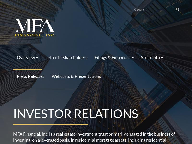 A Day Up For MFA Financial, Inc.
